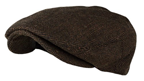 Wonderful Fashion Men's Herringbone Tweed Wool Blend Snap Front Newsboy Hat (DK.Brown,...