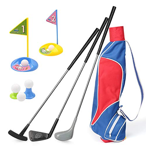 Kids Golf Clubs Set, Exercise N Play Deluxe Happy Young Golfer Sports Kit, 15 Piece Set of...