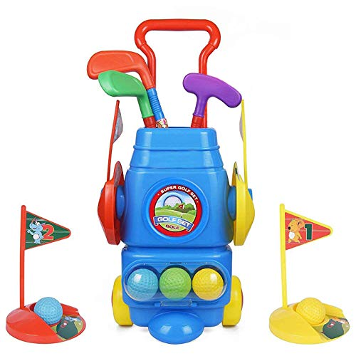 ToyVelt Kids Golf Club Set  Golf CartWith Wheels, 3 Colorful Golf Sticks, 3 Balls & 2...
